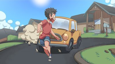 A scared man being chased by a car