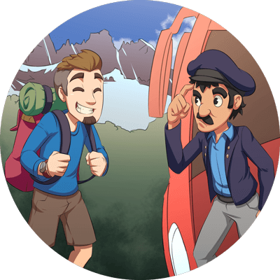 A confused bus driver talking to a backpacker