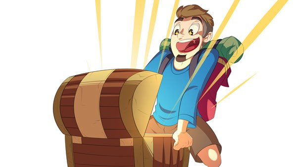 Man opening a treasure chest full of gold.