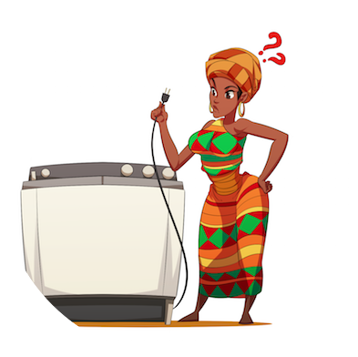 A confused African woman holding the power cable of a washing machine