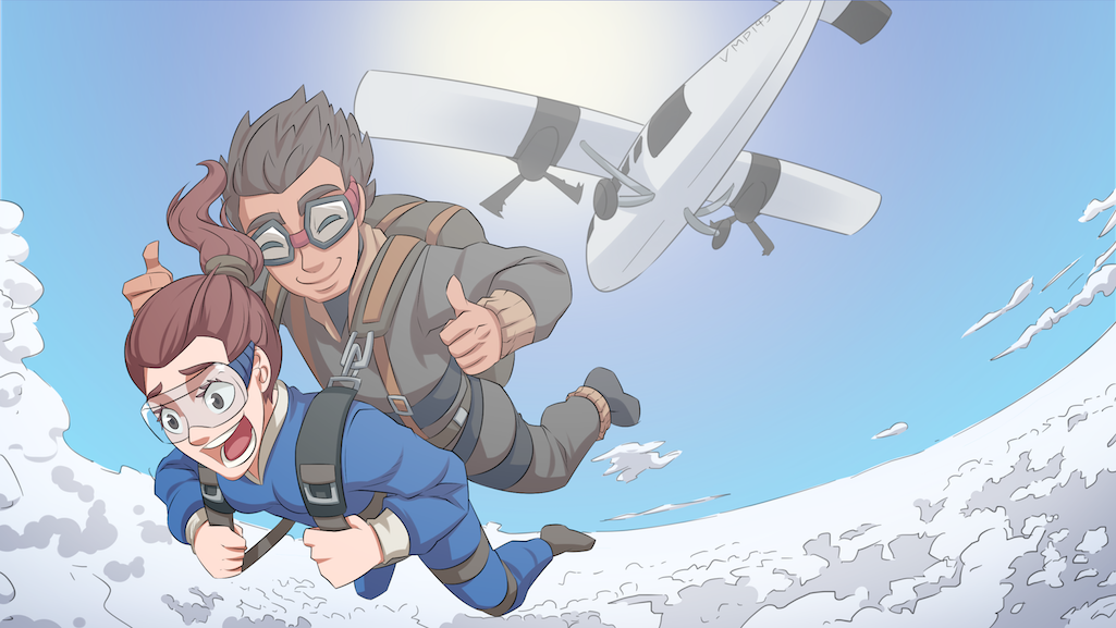 A woman feeling excited skydiving for the first time