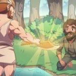 The God Mercury handing a woodman a golden axe.