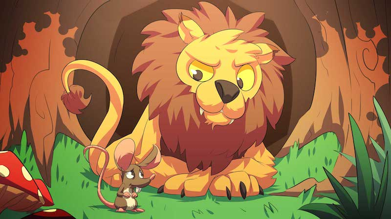 A scared mouse talking to a lion in the middle of the jungle