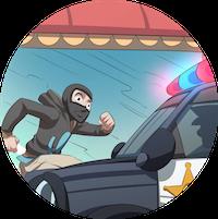 A man wearing a balaclava running away from a police car