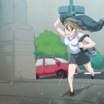 A woman running in the city trying to get out of the rain.