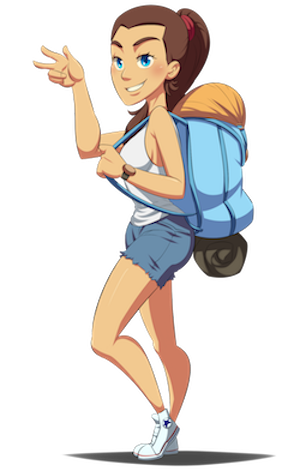 Snappy Spanish female character smiling while carrying a backpack