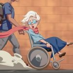 Drawing of a young man pushing a woman in a wheelchair for free online beginner Spanish short story