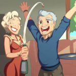 An older couple celebrating their win with a bottle of champagne