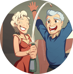 An older couple celebrating with a bottle of champagne