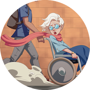 An older lady being pushed in a wheelchair